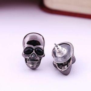 Gunmetal Black Skull Stud Earrings